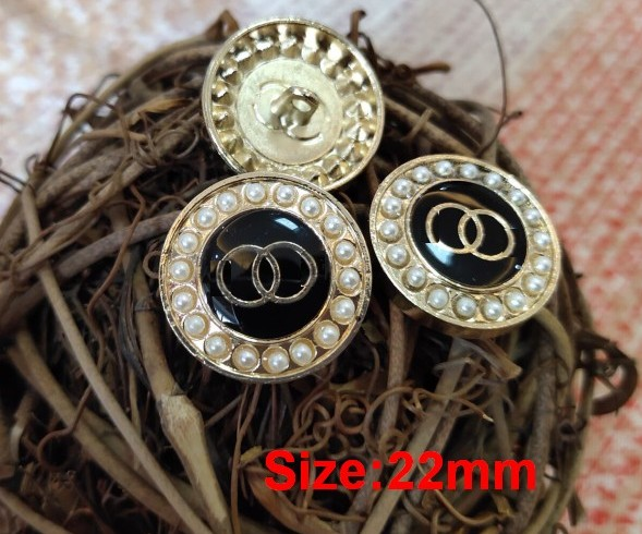 Wholesale 10 Pieces New Fashion High-grade Gold Metal Pearl Jacket Overcoat Shirt Cotton Coat Button Size 22mm Free Shipping