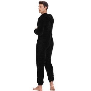 Image 5 - Мужская плюшевая флисовая Пижама теплая зимняя Пижама комбинезон костюмы Женская одежда для сна кигуруми пижамные комплекты с капюшоном для взрослых мужчин