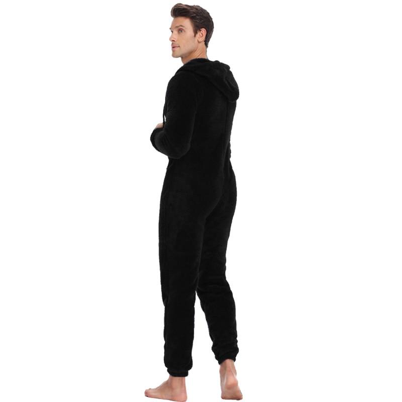 Men Fluffy Fleece Pajama Set Mens Autumn Winter Pyjama Solid Color Homewear Elastic Home Suit Hooded Pajamas Set For Adult Men