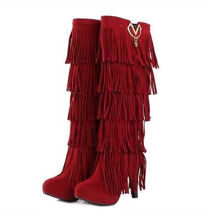 ФОТО Plus Size 34-43 New Flock Winter Fur Women Boots High Heels Knee Boots Fringe Tassels Fashion Black Brown Red Yellow Punk H6734