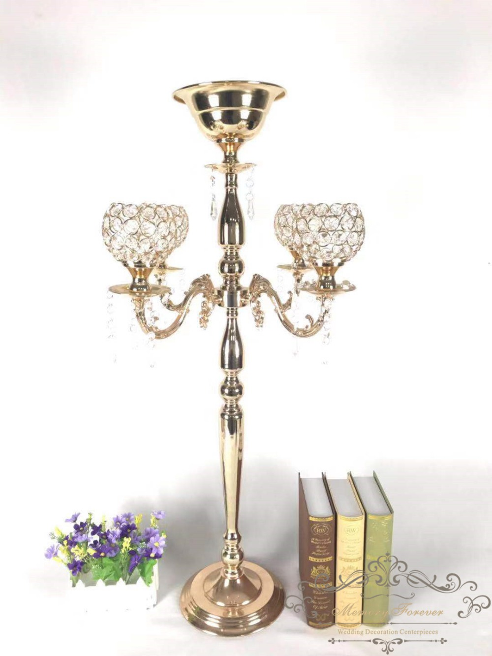 10PCS Tall Crystal Candelabra with Flower Bowl for Wedding Decoration Table Centerpiece Metal Gold Candle Holders Candlesticks