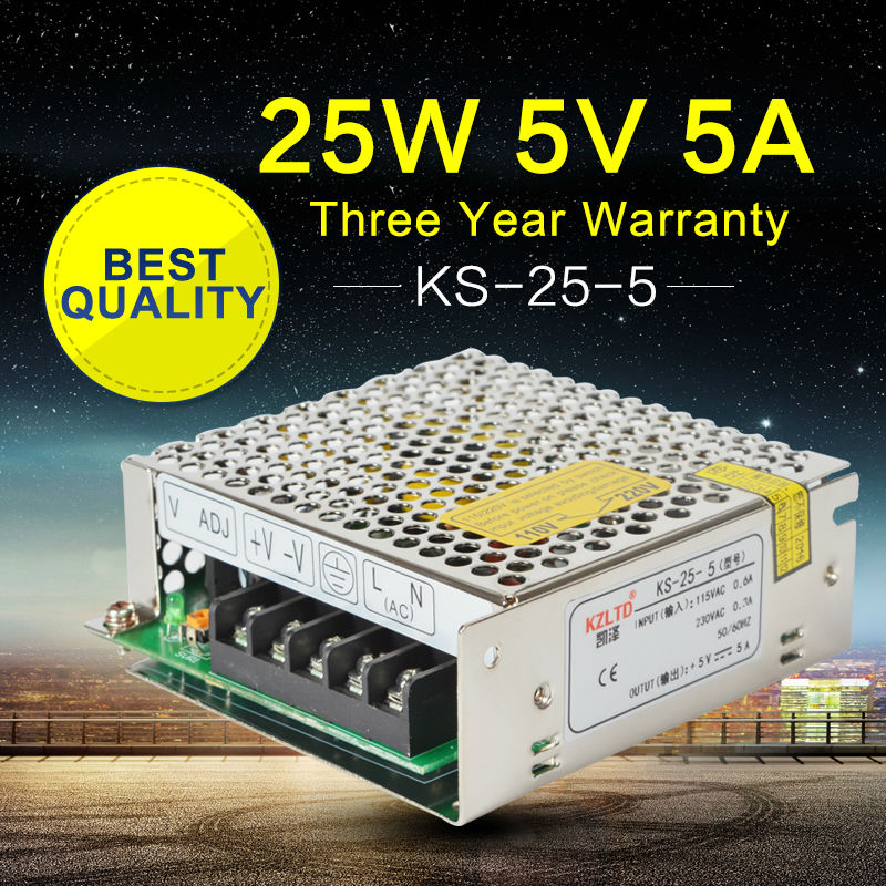 5V 5A 25W Power Supply 5V 5A Universal Regulated Switching Power Supply Adapter for LED Strip Light 220 to 5V Power Supply