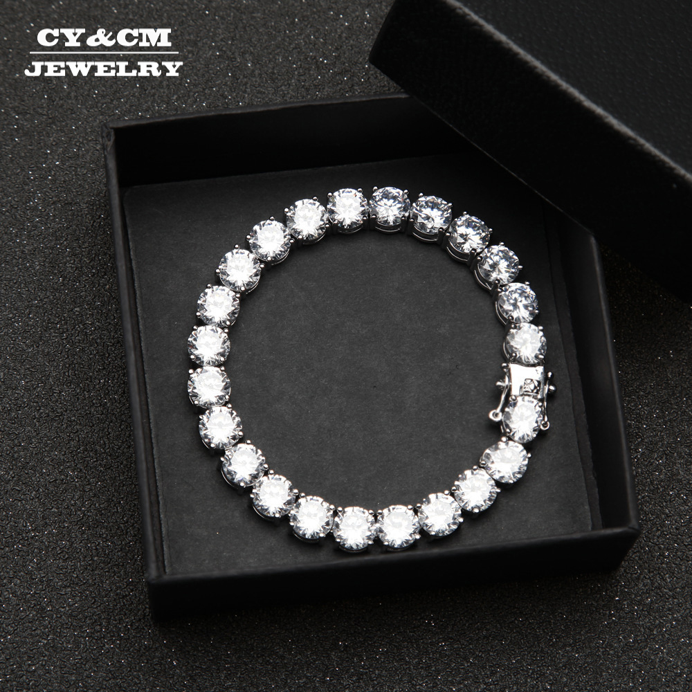CYCM 1 Row Round CZ 8mm Tennis Bracelet Gold Silver Iced Out Tone 20cm Copper Bling Bling Cubic Zirconia Mens Hip Hop Jewelry