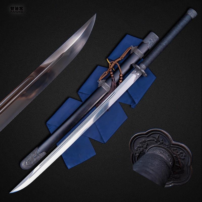 Handmade Chinese Sword Broadsword High Manganese Steel Alloy Tsuba Sharp Blade Qing Dynasty Sword Sharp Blade Full Tang