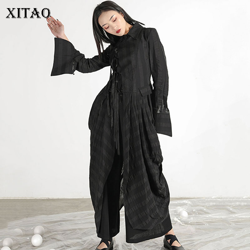 [XITAO] Irregular Women Fashion 2019 Summer Solid Color Loose Coat Female Bandage Turn-down Collar Full Sleeve   Trench   XJ1161