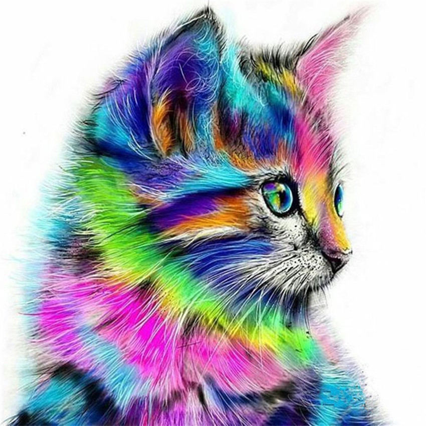 WONZOM Colorful Cat Framed Animal DIY Painting By Numbers Kit Modern Home Wall Art Picture Acrylic Coloring By Numbers Artwork in Painting Calligraphy from Home Garden