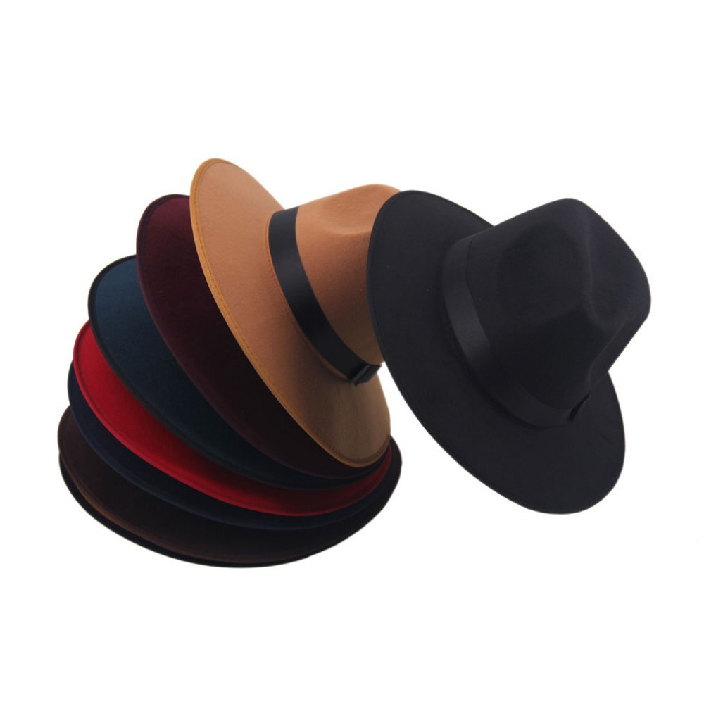 Модные Винтаж Для женщин шляпа с широкими полями ленты теплая шерсть Смеси фетровая шляпа котелок Fedora Кепки