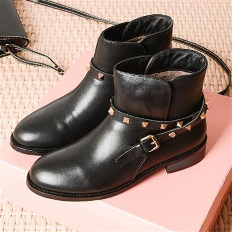 Sólido Redonda Cuero Toe Zapatos Tobillo Remache Botas Nueva Mujer De Negro Moda As Botines Llegada Show Bota Marca Feminina t7cqHEpw