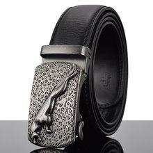 WOWTIGER Fashion Designer pasy dla mężczyzn przesuwne klamry Ratchet luksusowe oryginalne 3.5cm skórzany pasek automatyczne ceinture homme