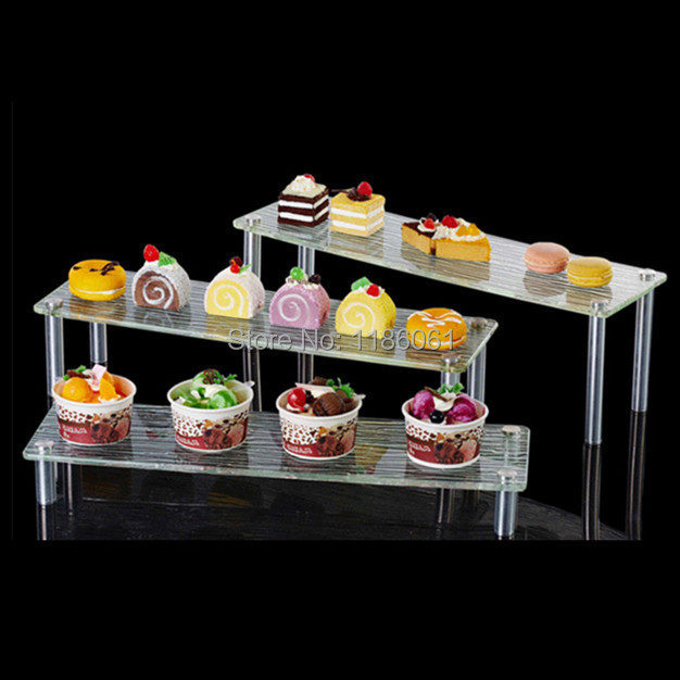 Tre Livello Acrilico Torta Nuziale di Plastica In Acciaio Buffet Partito Cupcake Stand per il Pane Visualizzazione Titolare Scaffale Bolo Prateleira