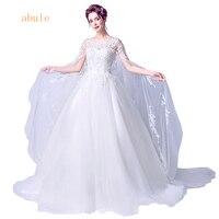 abule 2018 Ball ball wedding dress sheer lace long train applique simple princesss Tulle bride wedding gowns Vestido De Noiva