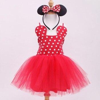 EMS DHLFree Shipping Kids Girls Holiday Princess pettiskirt tutu , pom pom dancing dress + head band Minnie Dress Red Pink