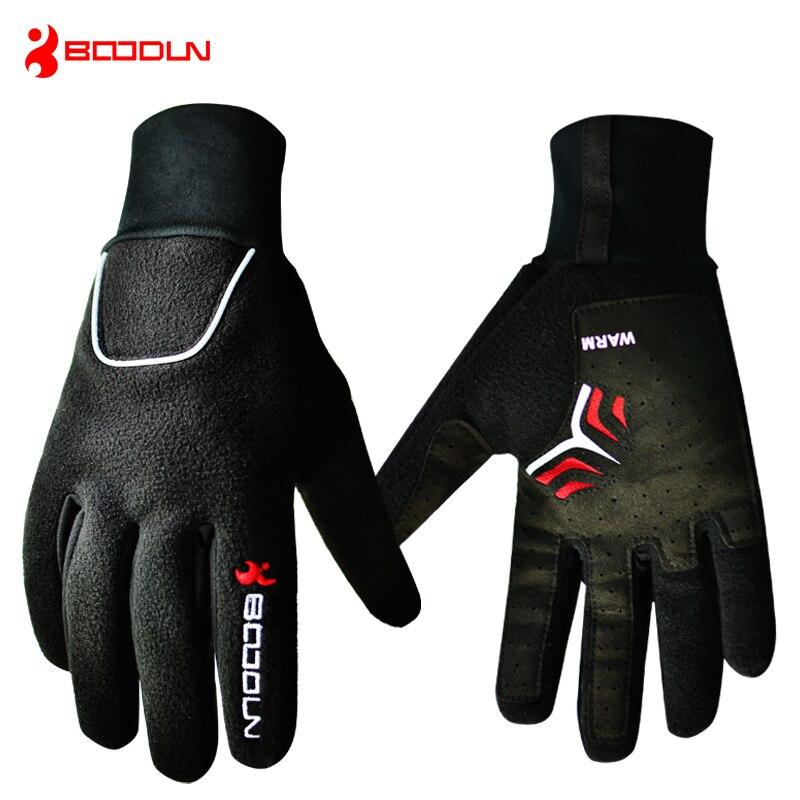 BOODUN Waterproof Thermal Cycling Gloves Full Finger Winter Warm Bike MTB Skiing Glove Sport Bicycle for Men Women