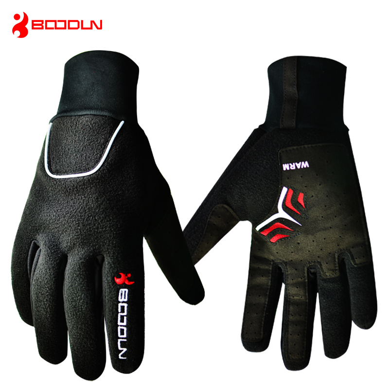 BOODUN Winter Waterproof Cycling Gloves Long Finger Thermal Fleece Bike Gloves Skiing Sports Full Bicycle Glove for Men Woman