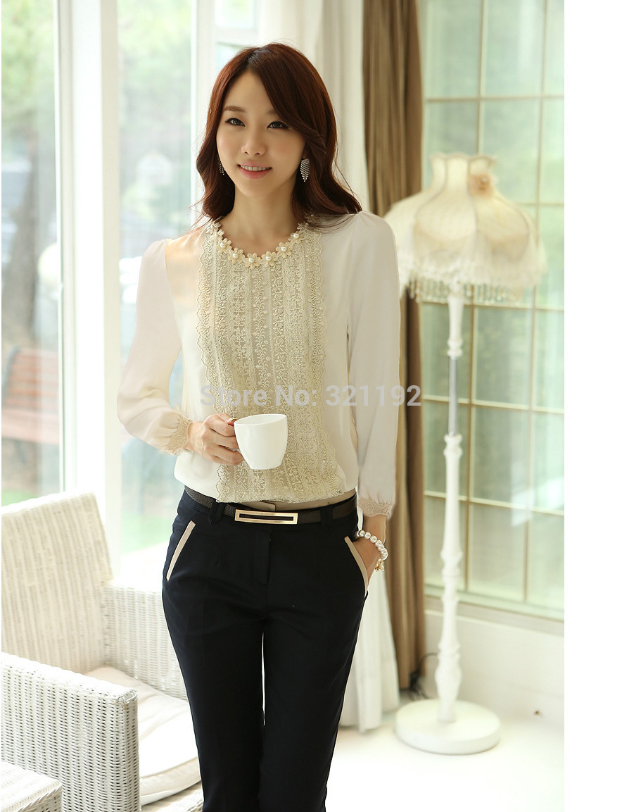 D50 Wholesale Female High Quality Spring Summer Plus Size Loose Chiffon Blouse Woman Hedging Beaded Casual Chiffon Shirts G516