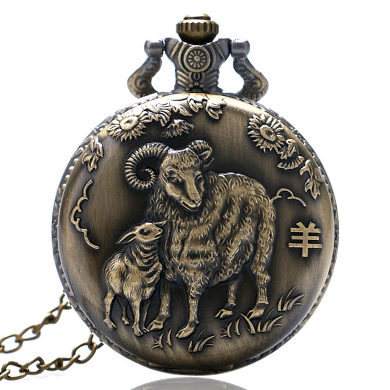 YISUYA Antique Chinese Zodiac Goat Quartz Pocket Watch Necklace Pendant Birthday Gift Men Women Boy Girl Kid Bronze Steampunk