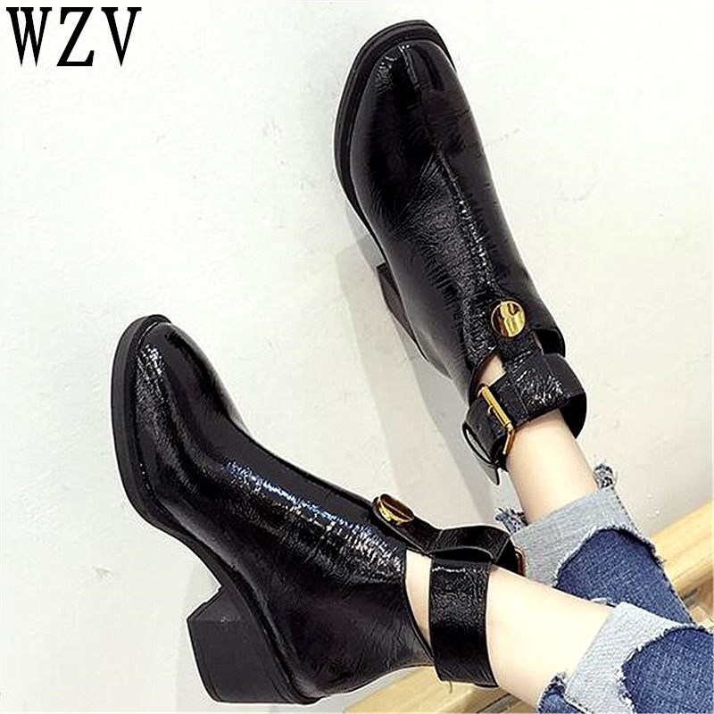 62b6b6e0630 2018 Autumn Winter Women Boots belt buckle Martin boots Bright leather  Motorcycle boot Female Thick Heel Ankle boots E417