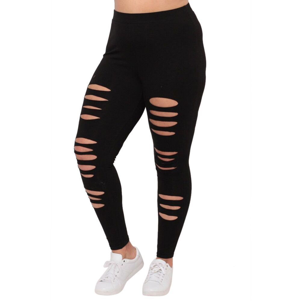 2019 Top Hot Fashion Plus Size Womens Sexy Leggings Trousers Sport Hole Casual Pants Gyms Leggings  For Sport#G