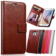 S6 / S6 Edge Wallet Leather Case For Samsung Galaxy S6 G9200 Coque Phone Case Cover For Samsung Galaxy S6 Edge With Photo Slot