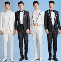 Mens formal dress groom wedding suits for men suits male costume homme mariage 2019 fashion black white jacket + pant + tie
