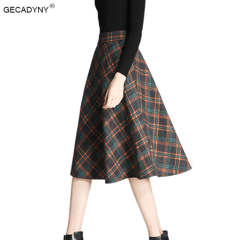 2017 Plaid Skirt Women Long A-Line Skirt British Style Woolen Plaid Skirts Kilt Winter Vintage Wool Tartan Umbrella Plaid Skirts