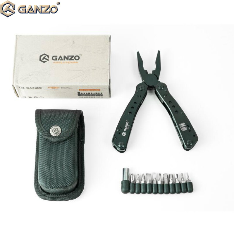 10pcs/lot <font><b>Ganzo</b></font> <font><b>G201B</b></font> 22in1 Multi Pliers Multi Tool Camping Tool Nylon pouch with Screwdriver Kit Camping Climbing Hiking tool image