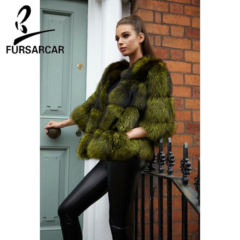 FURSARCAR Customize Women Thick Warm Fur Coat Solid Casual Luxury Slim 2018 New Fashion Winter Natural Silver Fox Jacket