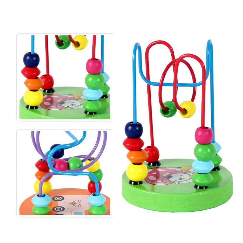 Children Educational Toy Wood Beads Roller Coaster Maze Game Bright Colors Kids Hand Eyes Training Gift