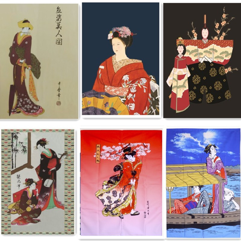 (Customized Size Accept) Korea/Japan/China Sushi Restaurant Kitchen Doorway Cloth Curtain Beauty(85x140cm)