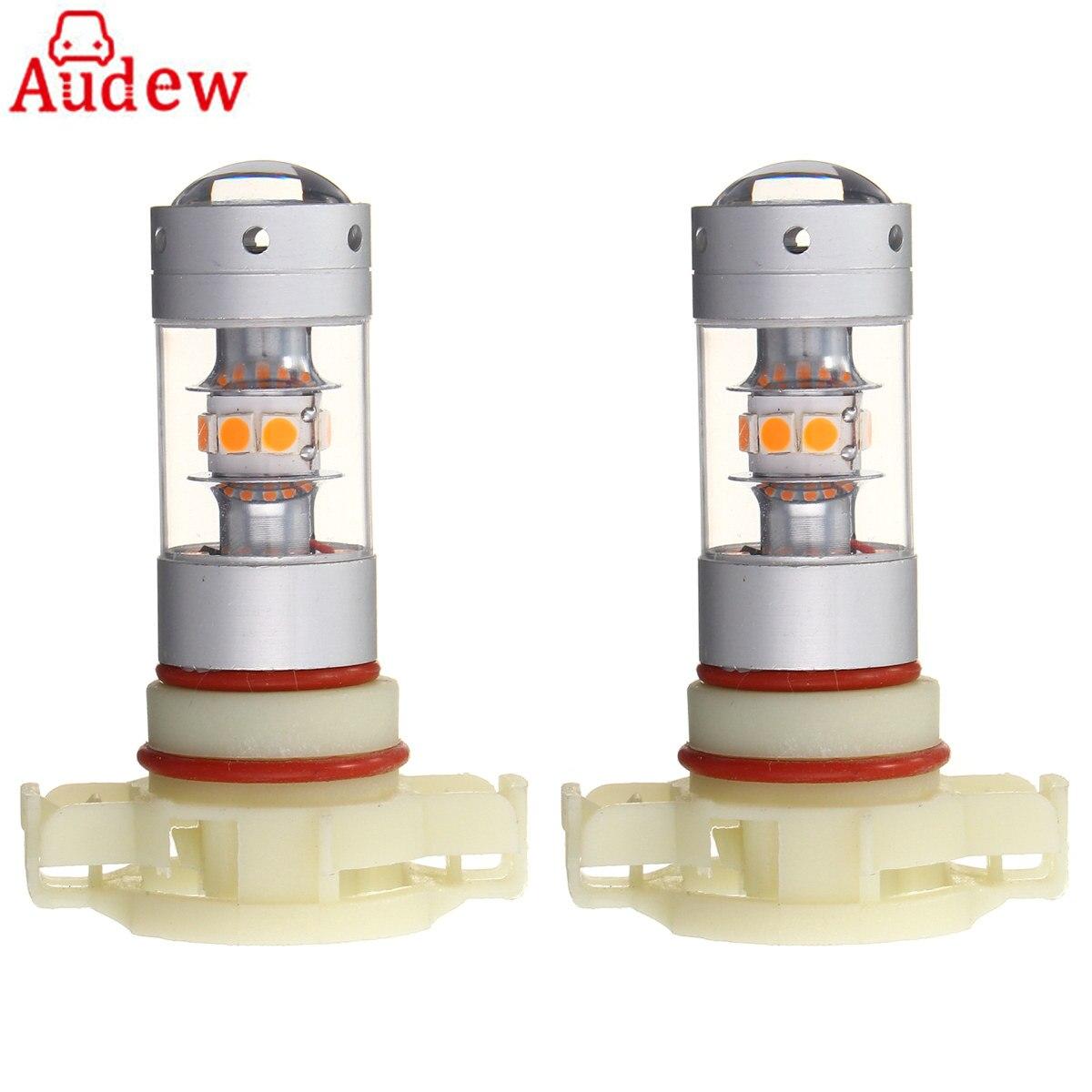 2Pcs Amber PY24W 28LED 140W Car font b Lamp b font Bulbs Universal Turn Signal Light