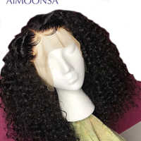 Kinky Curly Wig 360 Lace Front Wig Human Hair With Baby Hair Natural Wig Black Wig Pre Plucked For Women Mongolion Remy Aimoonsa
