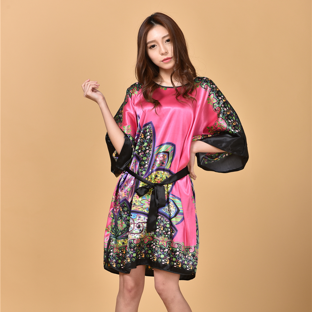Hot Pink Printed Floral Ladies Bath Robe Gown Chinese Womens Vintage Satin Sleepwear Nightgown Plus Size Casual Dress NB056