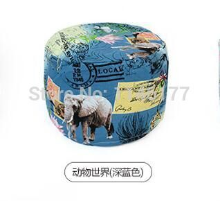 Ywxuege lazy fabric sofa stool animal world blue style Home Office circular seating stool washable canvas newspaper