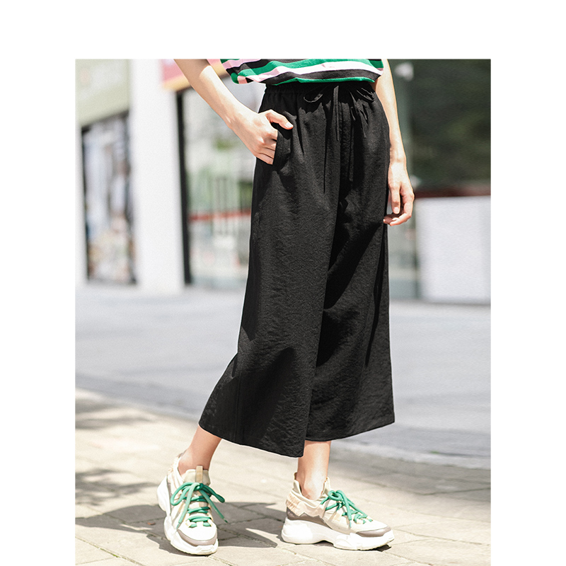 INMAN Solid Color High Waist Literary Retro Casual Student Style Loose Women Three Quarter Pants