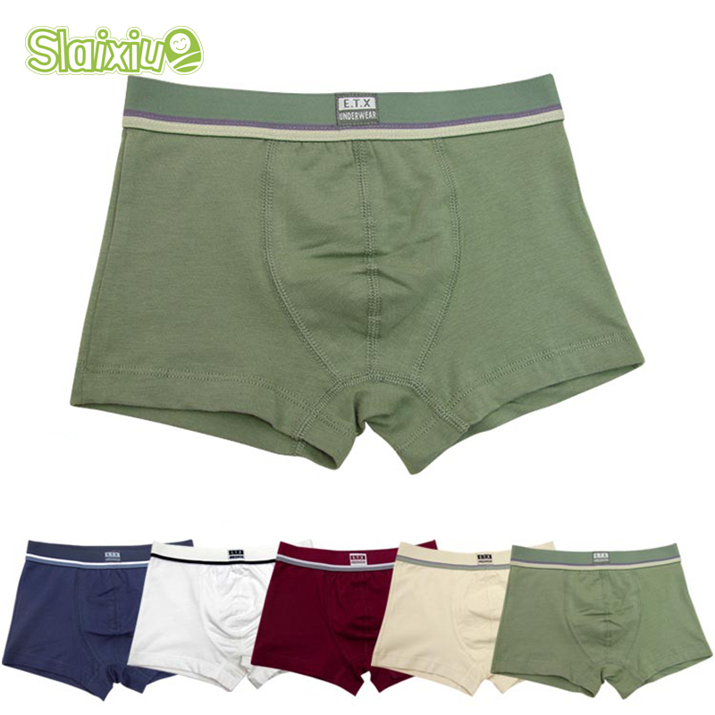 5 Pcs/lot Soft Cotton Kids Underwear Comfortable Pure Color Baby Boys Boxer Shorts Panties Childrens Teenager Underwear 2-16y
