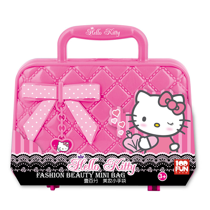 100FUN Children's Toys Girl Cosmetic Set Safety Princess Hello Kitty Makeup Box Little Girl Birthday Gift Toys For Children заколки hello little girl hair accessories