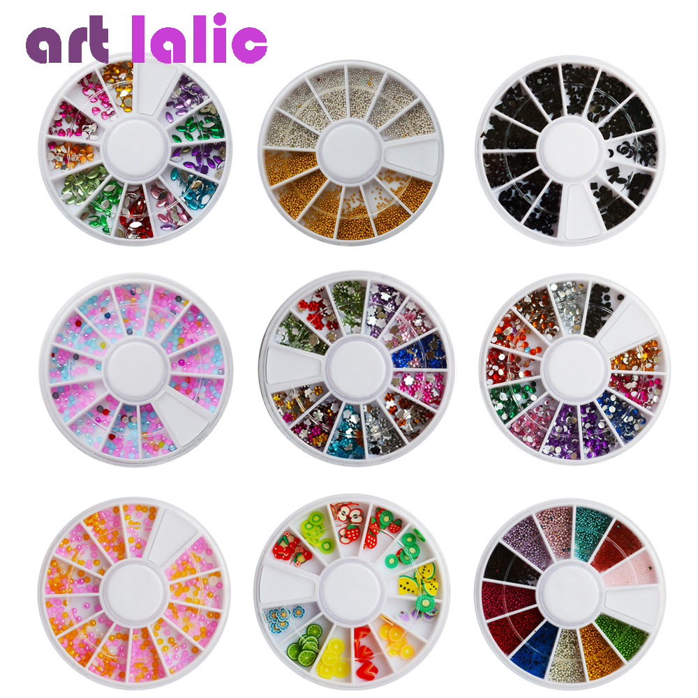 Artlaic 1 Wheel Nail Art Rhinestones Glitter Metal Beads Acrylic Tips Manicure Wheel Fimo Pearl Studs Alloy Nail Decoration 3d white pearl nail art rhinestones 1 wheel 3 sizes nail beads wheel diy manicure nail decorations