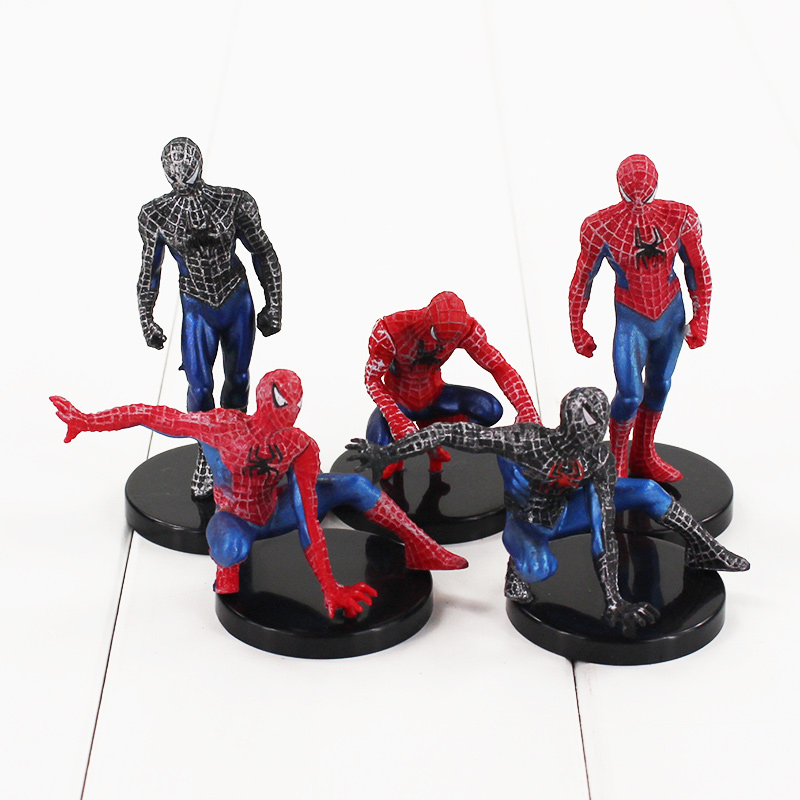 Childrens Favourite Awesome Spiderman Toys Brinquedo PVC Kids Toys Spiderman Action Figure With Gift Hot Sale 5pcs/lot