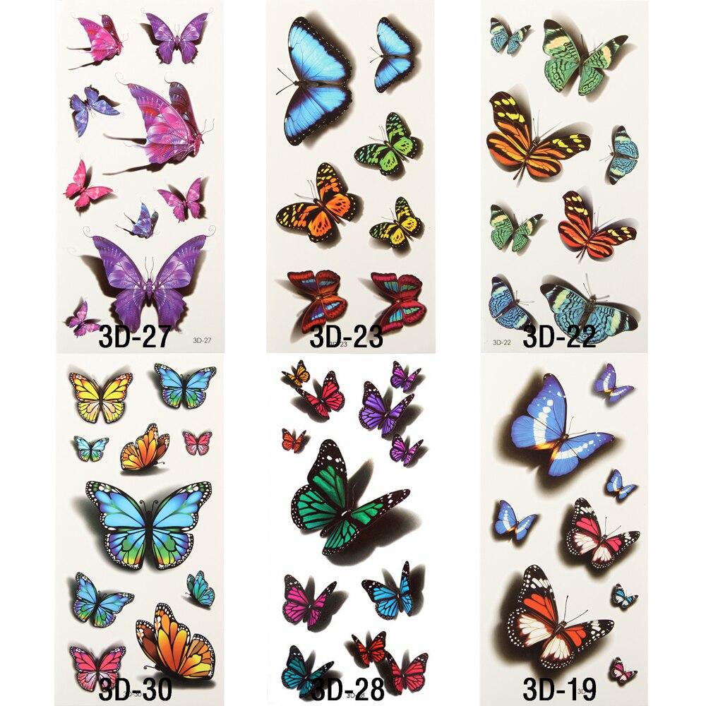 online kopen wholesale vlinder 3d tattoos uit china. Black Bedroom Furniture Sets. Home Design Ideas