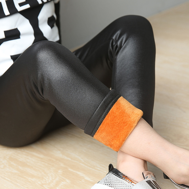 2017 Autumn and Winter children's plus thick velvet legging baby child thicking imitate Leather pants girls bottoming pant