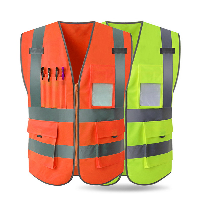 MJARTORIA Men's Outdoor Construction Engineering Safety Vest High Visibility Reflective Strips Zipper Front Safety Clothing(China)