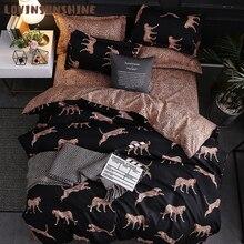 Пододеяльник LOVINSUNSHINE, двуспальный комплект постельного белья с леопардовым принтом, большие размеры, AB #196