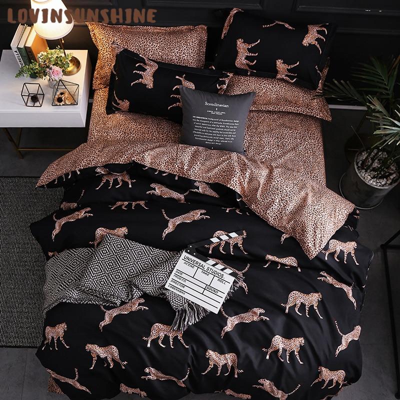 Lovinsunshine Dekbedovertrek Kingsize Queen Size Trooster Sets Luipaard Afdrukken Beddengoed Set Ab #196