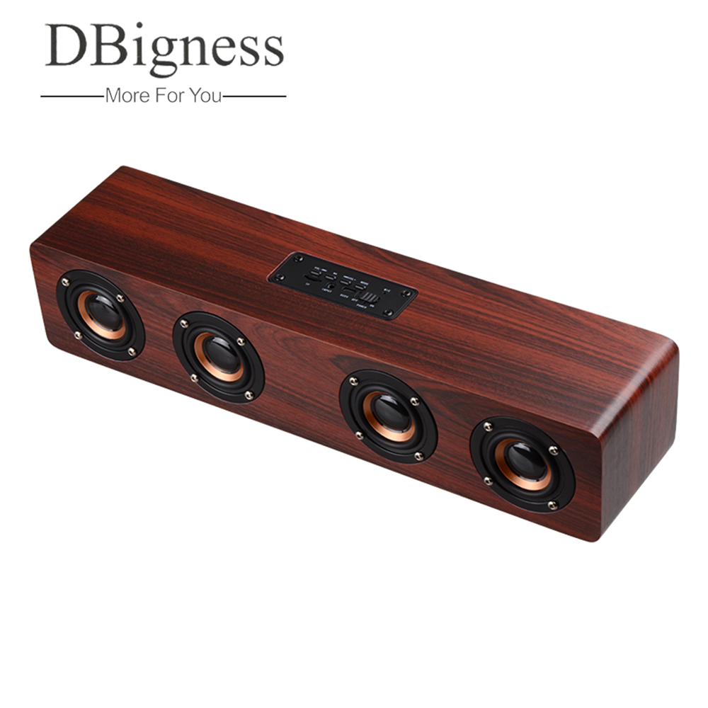 Dbigness HiFi Wireless Wooden Bluetooth Portable Speaker Support TF Card FM Radio AUX Handsfree Audio for PC Phone Home Outdoor kubei 290 wireless bluetooth v3 0 speaker w fm radio black