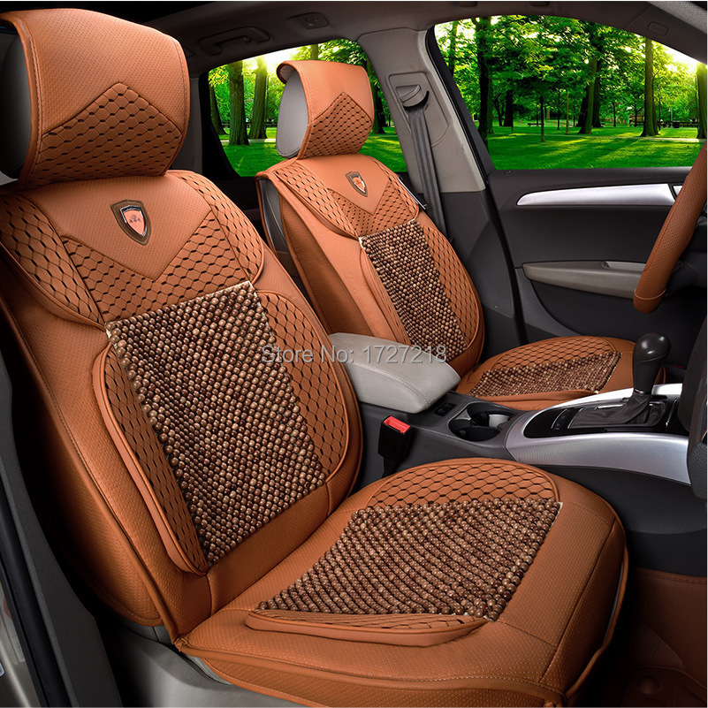 free shipping perforated leather wood beads car seat covers summer exclusive covers 5 seat car. Black Bedroom Furniture Sets. Home Design Ideas