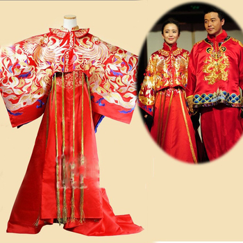 Tong LiYa Chen SiCheng Red Chinese Wedding Hanfu Couple Costume Sets Republican Period Bride and Groom