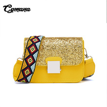 CGmana Women handbag Brand Wide Multicolor Straps Shoulder Bags Messenger Fashion Sequins Crossbody