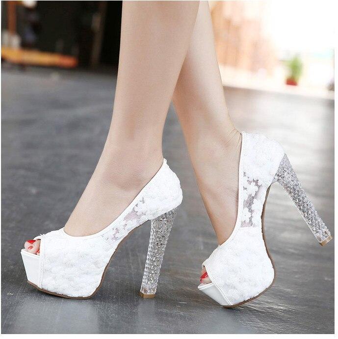 Womens Wedding Shoes 2016 Crystal High Heels Ladies Peep Toe