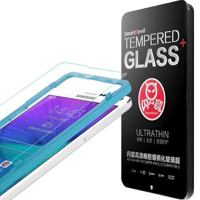 Revestimiento anti-huella digital protector de pantalla de cristal templado para samsung galaxy note4 película protectora delantera con papel de aluminio caja de herramientas