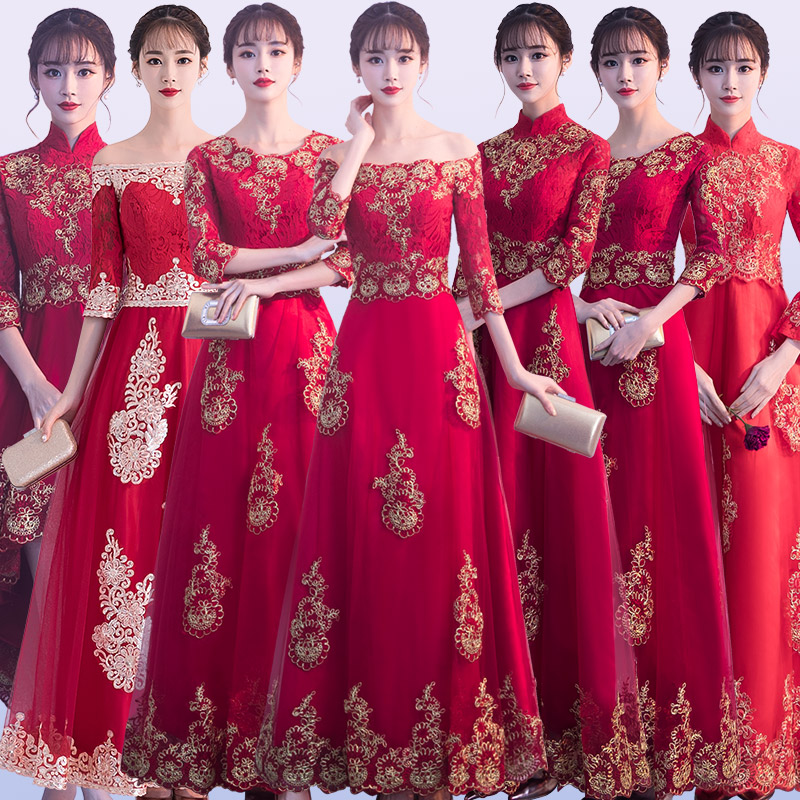 New Arrival Women Red Lace Qipao Classic Bridesmaid Wedding Dress Gowns Vintage Improved Satin Full Length Dresses Toast Clothes